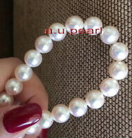 """Collectibles Japanese Top 17""""8-8.5mm Akoya round white pearl necklace 14K GOLD"""