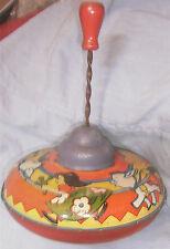 Vintage Toy 1950's Ohio Art Spinning Top Litho Tin Donkey Girl Cactus Retro 1.