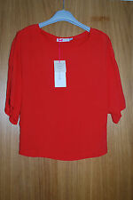 RRP $320 Designers CHLOE red blouse top, fitted at waist SIZE 12 NEW