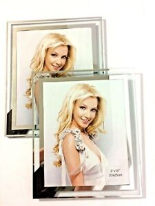 """Set of 2 NEW Modern All Glass Free Standing Picture Frames for 8"""" x 10"""" Photos"""