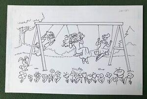 """Original Coloring Book Artwork """"PRINCESS"""" Dan Parent signed by inker Swing Set"""