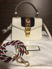 AUTHENTIC Gucci Sylvie Mini Top Handle Crossbody White Leather Bag W 2 straps -