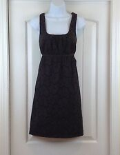 Ann Taylor Loft Brown Floral Cut Out Sleeveless Empire Waist Cotton Sz 12 Dress