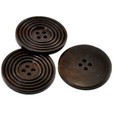 20 Round Dark Coffee Stripe 4 Holes Wood Buttons Sewing Ornaments Scrapbook 38mm