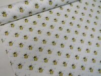 Designer Rose & Hubble 100% Cotton Ivory Bumble Bees Honey Bee Fabric Poplin
