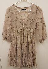 BNWOT Ladies Atmosphere Floral Grey See Through Chiffon Style Dress Size UK 8