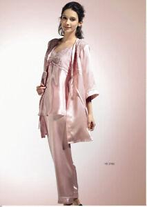 Pure Silk Womens Robe Pyjamas Short 3PCS Set