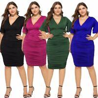 Women Boho Summer Beach bodycon Mini Dress Ladie Evening Party Dress UK Big size