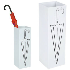 Portaombrelli Ferro Design BAKAJI3W Quadrato Stand Bianco Vaschetta Salvagoccia
