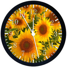Sun Flowers Black Frame Wall Clock Nice For Decor or Gifts X19