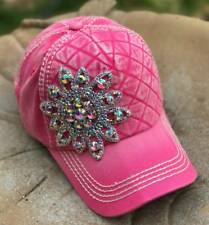 Olive & Pique NWT AB Rhinestone Flower Quilted Front Baseball Style Hat - Pink
