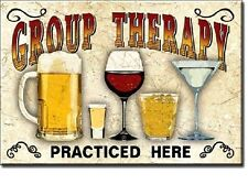 "Group Therapy Practiced Here Beer Wine Martini Miniature Sign Magnet 2"" X 3"""