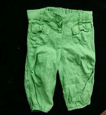 girl next linen summer trousers green vgc 3/4 leg length  18-24 months