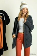 Umgee Charcoal Long Sleeve Open Front Sweater Cardigan With Pockets