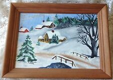C.E. BROWN New England Winter Landscape Painting Oil on Board Snowy Village