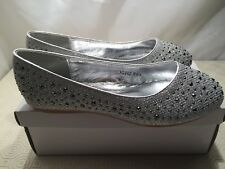 Spot On Girls' H2282 Silver Sparkly Ballet Flats UK size  1 / EU 33 BNIB