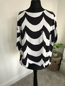BNWT Marimekko X Uniqlo Scallop Wavy T Shirt Size M Oversized Black & White Boxy