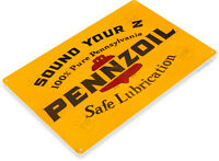 TIN SIGN Pennzoil Safe Lubrication Oil Gas Lube Service Auto Shop Garage A561