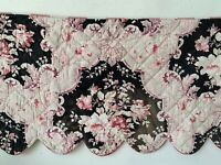 Quilted Valance Antique French 1880 hand block printed red fabric floral