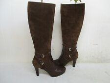 Nine West Friggid Brown Suede Leather Zip Knee High Heel Boots Womens Size 7.5 M