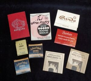 Vintage Advertising Matchbook Sewing Hosiery Repair Kit Travel Needle Book Lot