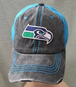 Seattle Seahawks Distressed Vintaged Deluxe Black Washed Neon Blue Mesh Hat