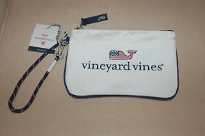 NWT Vineyard Vines For Target Flag Whale Pouch Small Bag White Wristlet