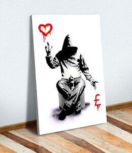 BANKSY LOVE OR MONEY GRAFFITI CANVAS WALL ART PRINT ARTWORK PAINTING DEEP FRAMED