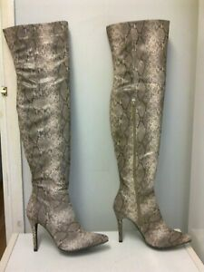 BOOHOO Snakeskin Faux Leather Over Knee High Boots - size 38 / 5 UK  NEW !!!