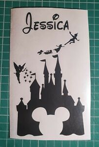 Disney Castle with name personalised wine bottle Vinyl Decal sticker.