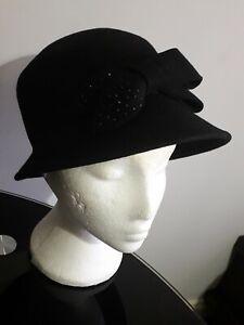 Beautiful simple black hat, wedding, church,  ceremonies, winter, Ladies hat.