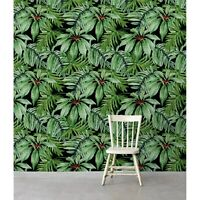 Tropical Banana Leaf Non-Woven wallpaper  Floral Print Traditional Home Mural