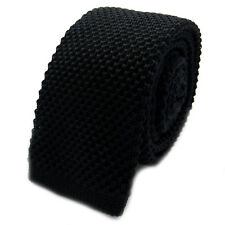 New Luxury Mens Black Plain Woven Tie (Necktie Solid Men Knitted Skinny Fashion)