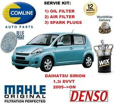 FOR DAIHATSU SIRION 1.3 DVVT 2005-->ON OIL AIR FILTER + SPARK PLUGS SERVICE KIT