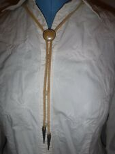 Handmade Bolo Tie Faux Pearl Pendant Necklace Western Cowboy Leather Rope