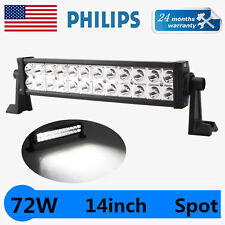 Philips 14inch 72W Spot LED Work Light Bar Offroad Driving Jeep SUV 12V24V Lamp