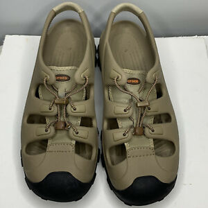 Crocs Trailbreak Mens 13 Beige Cinch Laces Water Shoes Sandals Fishing Hiking