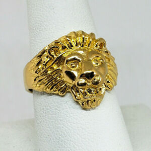 Solid 24K Yellow Gold Handcarved Large Heavy Mens Lion Ring Size 5 - 11