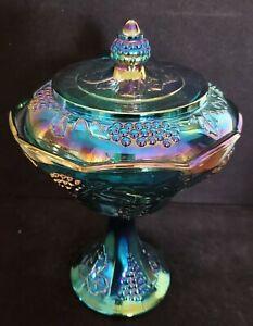Vintage Indiana Blue Carnival Glass Covered Pedestal Compote - Harvest Grape