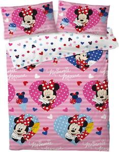 Minnie Mouse Double Duvet Cover Bedding Set Disney Quilt Reversible Polka Dot