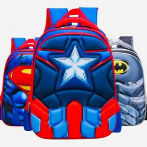 3-D SUPERHERO (BATMAN/SPIDER-MAN/CAPTAIN AMERICA/SUPERMAN) BACKPACK - SCHOOLBAG
