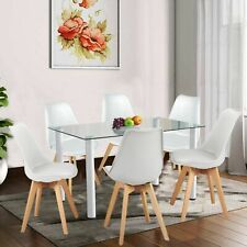 Glass Dining Table And 4 Chairs Set White 6 Seater Dining Room Kitchen Furniture