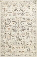 Wool/ Silk Distressed Oushak Oriental Area Rug Geometric Hand-tufted Carpet 5x7