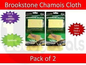 2x SYNTHETIC CHAMOIS CLOTH Car Home Drying Shammy Absorbent- Extra Large 72x50cm