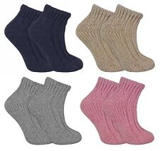 Ladies Thick Colourful Knit Winter Warm Low Cut Wool Blend Ankle Boot Socks LWAS