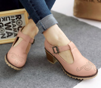 Womens Punk Buckle Platform Ankle Strap Lolita Pu leather Loafer Buckle Shoes