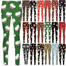 Womens Girls Xmas Leggings Santa Gift Snowman Tree Reindeer Full Jeggings