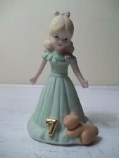 Enesco Growing Up Birthday Girl Age 7 Seven Blonde Vintage Figurine 1981