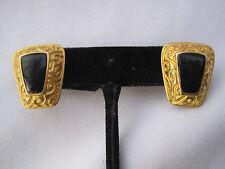 Estate Pair of Anne Klein (AK) Gold-Tone Pierced Earrings w/ Black Onyx Stones