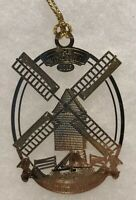 2013 Colonial Williamsburg 24K Gold Finish Windmill Holiday Ornament